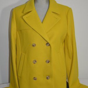 Jcrew Melton Wool Yellow Double Breasted Pea Coat
